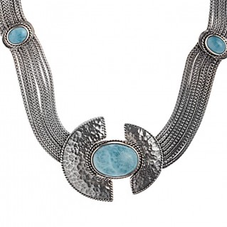 Savati 233 - Sterling Silver & Larimar Byzantine Multi Chain Necklace