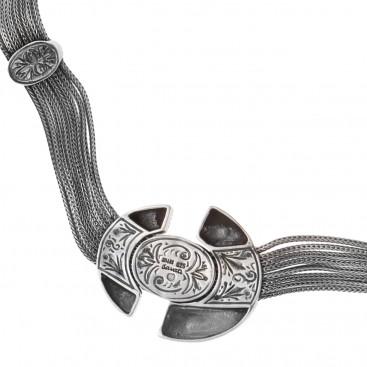 Savati 233 - Sterling Silver & Larimar Byzantine Multi Chain Necklace