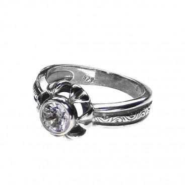 Gerochristo 2706N ~ Sterling Silver & Zircon Solitaire Flower Ring