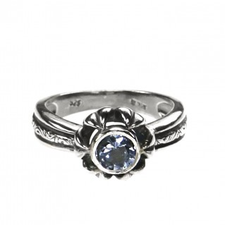 Gerochristo 2706N ~ Sterling Silver & Zircon Solitaire Flower Ring