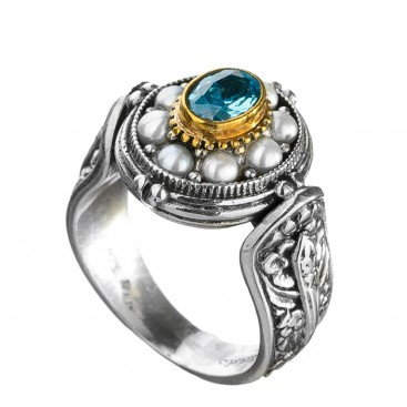 Gerochristo P2690N ~ Sterling Silver & Stones Medieval-Byzantine Cocktail Ring