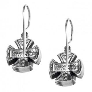 Gerochristo 1355N ~ Sterling Silver & Zircon Medieval Drop Hook Cross Earrings