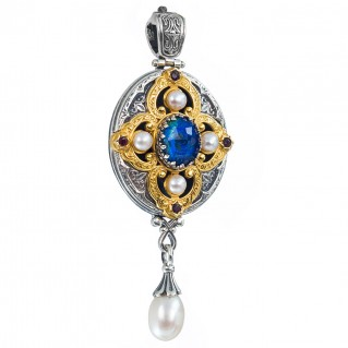 Gerochristo P3294N ~ Sterling Silver & Stones Medieval-Byzantine Large Imperial Pendant