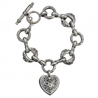 Gerochristo 6163N ~ Sterling Silver Medieval-Byzantine Heart Charm Bracelet