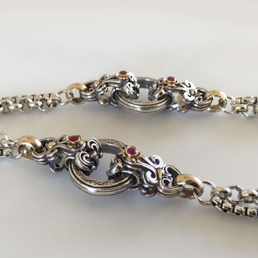 Gerochristo 4042N ~ Solid Gold & Silver Medieval Byzantine Floral Station Necklace