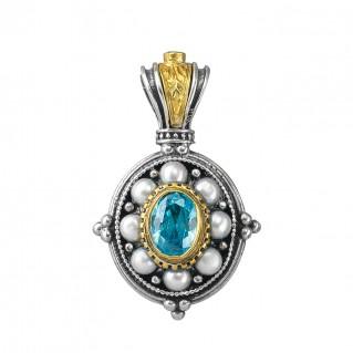 Gerochristo P1336N ~ Sterling Silver & Stones Medieval Pendant