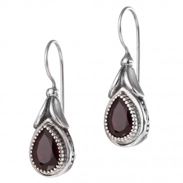 Gerochristo 1684N ~ Sterling Silver and Stones Medieval-Byzantine Drop Earrings