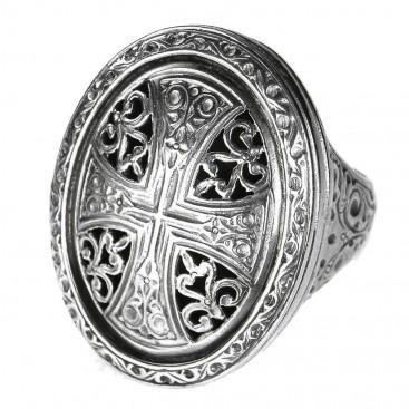Gerochristo 2479N ~ Sterling Silver Medieval-Byzantine Cross Ring