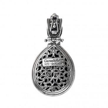 Gerochristo P3318N ~ Sterling Silver Medieval Doublet Drop Pendant
