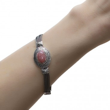 Savati 236 - Sterling Silver Multi Chain Byzantine Bracelet with Oval Gemstone