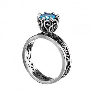 Gerochristo 2711N ~ Sterling Silver & Zircon Medieval Band Ring