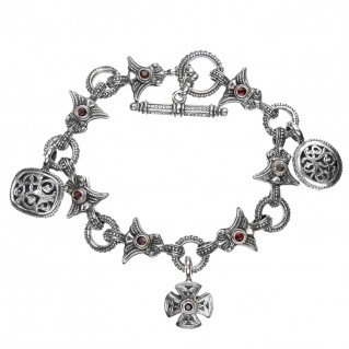 Gerochristo 6155N ~ Sterling Silver Medieval-Byzantine Charm Link Bracelet
