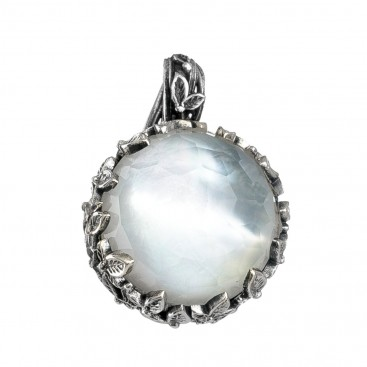 Gerochristo 3272N ~ Sterling Silver Medieval Cyclamen Round Pendant