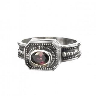 Gerochristo 2658N ~ Sterling Silver & Zircon - Medieval-Byzantine Ring