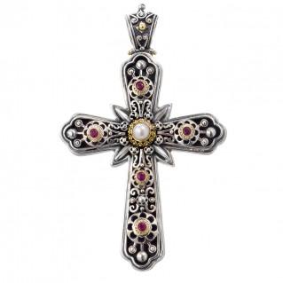 Gerochristo 5240N ~  Solid Gold & Sterling Silver Multi Stone Byzantine Large Cross Pendant
