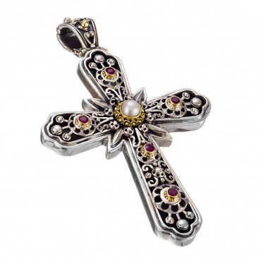 Gerochristo 5240N ~ Solid Gold & Sterling Silver Multi Stone Byzantine Large Cross Pendant