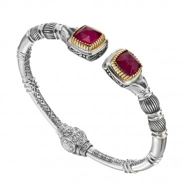 Gerochristo 6349N ~ Solid Gold & Sterling Silver Medieval Cuff Bracelet with Doublet Stones