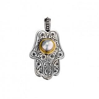 Gerochristo 3242N ~ Solid Gold & Sterling Silver Hamsa Fatima Hand with Pearl