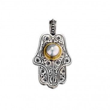 Gerochristo 3242N ~ Solid Gold & Sterling Silver Hamsa Fatima Hand with Pearl