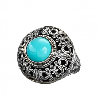 Gerochristo 2516N ~ Sterling Silver Single Stone Medieval-Byzantine Cocktail Ring