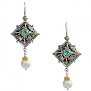 Gerochristo P1346N ~ Sterling Silver & Stones - Medieval Dangle Earrings