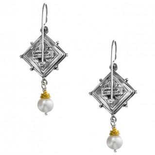 Gerochristo P1346N ~ Sterling Silver & Stones - Medieval Dangle Earrings