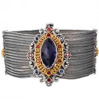 Gerochristo P6381N ~ Sterling Silver & Stones Medieval-Byzantine Wide Multi Chain Bracelet