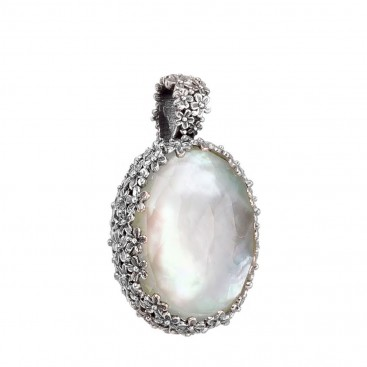 Gerochristo 3280N ~ Sterling Silver Medieval Floral Pendant with Doublet Gemstone
