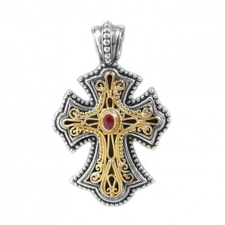 Gerochristo 5261N ~ Solid Gold & Sterling Silver Byzantine Cross Pendant