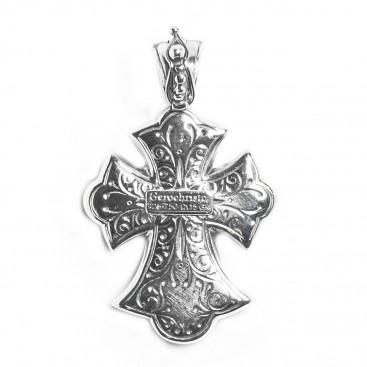 Gerochristo 5261N ~ Solid Gold & Sterling Silver Byzantine Cross Pendant