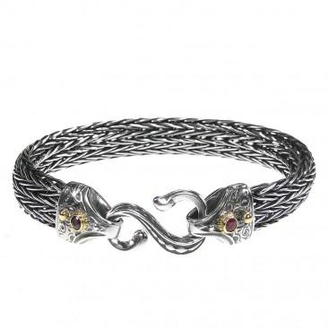 Gerochristo 6134N ~Solid Gold & Sterling Silver Medieval Byzantine Rope Bracelet