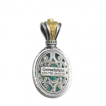 Gerochristo 1633N ~ Solid Gold & Sterling Silver Medieval Pendant with Doublet Stone