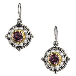 Gerochristo P1338N ~ Sterling Silver & Stones Medieval-Byzantine Drop Earrings
