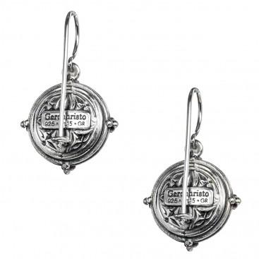 Gerochristo P1338N ~ Sterling Silver & Stones Medieval-Byzantine Drop Earrings