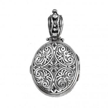 Gerochristo P3330N ~ Chi Rho-Chrismon ~ Sterling Silver Medieval Byzantine Locket Pendant