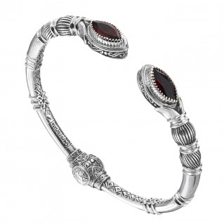 Gerochristo 6359N ~ Sterling Silver & Garnet Medieval Cuff Bracelet