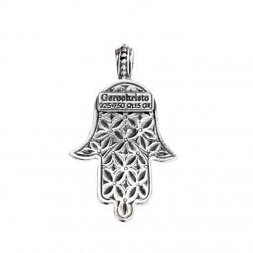 Gerochristo 3232N ~ Gold & Silver Hamsa Hand with Star of David Pendant