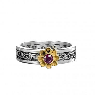 Gerochristo 2779N ~ Solid Gold & Silver Medieval-Byzantine Flower Band Ring