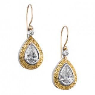 Gerochristo 1071N ~ Solid Gold & Silver Medieval-Byzantine Drop Earrings