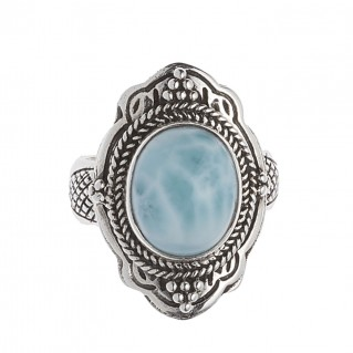 Savati 244 - Sterling Silver & Larimar Byzantine Large Cocktail Ring