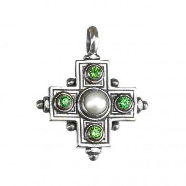 Gerochristo 5115N ~ Sterling Silver Multi-Stone Greek Cross Pendant