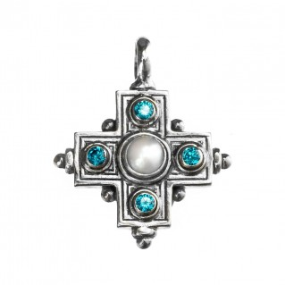 Gerochristo 5115N ~ Sterling Silver Multi-Stone Greek Cross Pendant