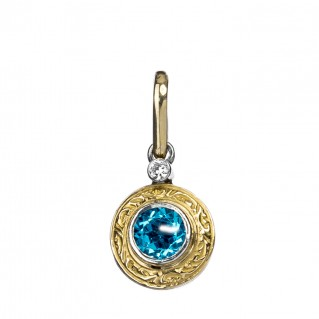 Gerochristo 1073N ~ 18K Solid Gold & Silver Medieval Round Charm Pendant