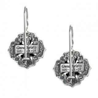 Gerochristo P1359N ~ Sterling Silver & Zircon Medieval-Byzantine Cross Earrings