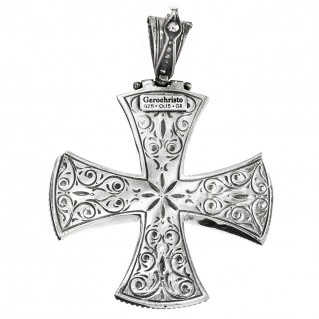 Gerochristo 5389N ~ Sterling Silver Large Maltese Cross Pendant