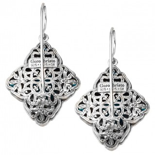 Gerochristo P1698N ~ Sterling Silver & Stones - Medieval Multi-Stone Large Drop Earrings