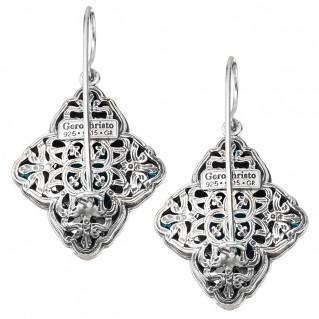 Gerochristo P1698N ~ Sterling Silver & Stones - Medieval Multi-Stone Large Drop Earrings