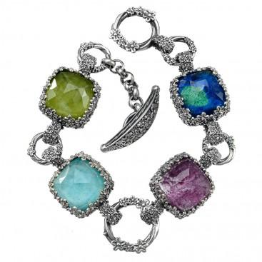 Gerochristo 6325N ~ Sterling Silver Multi-Stone Link Floral Bracelet
