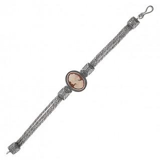 Savati 238 - Sterling Silver Multi Chain Cameo Bracelet