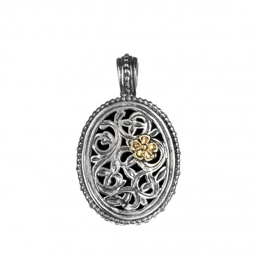 Gerochristo 1121N ~ Solid Gold & Silver Medieval-Byzantine Filigree Floral Pendant